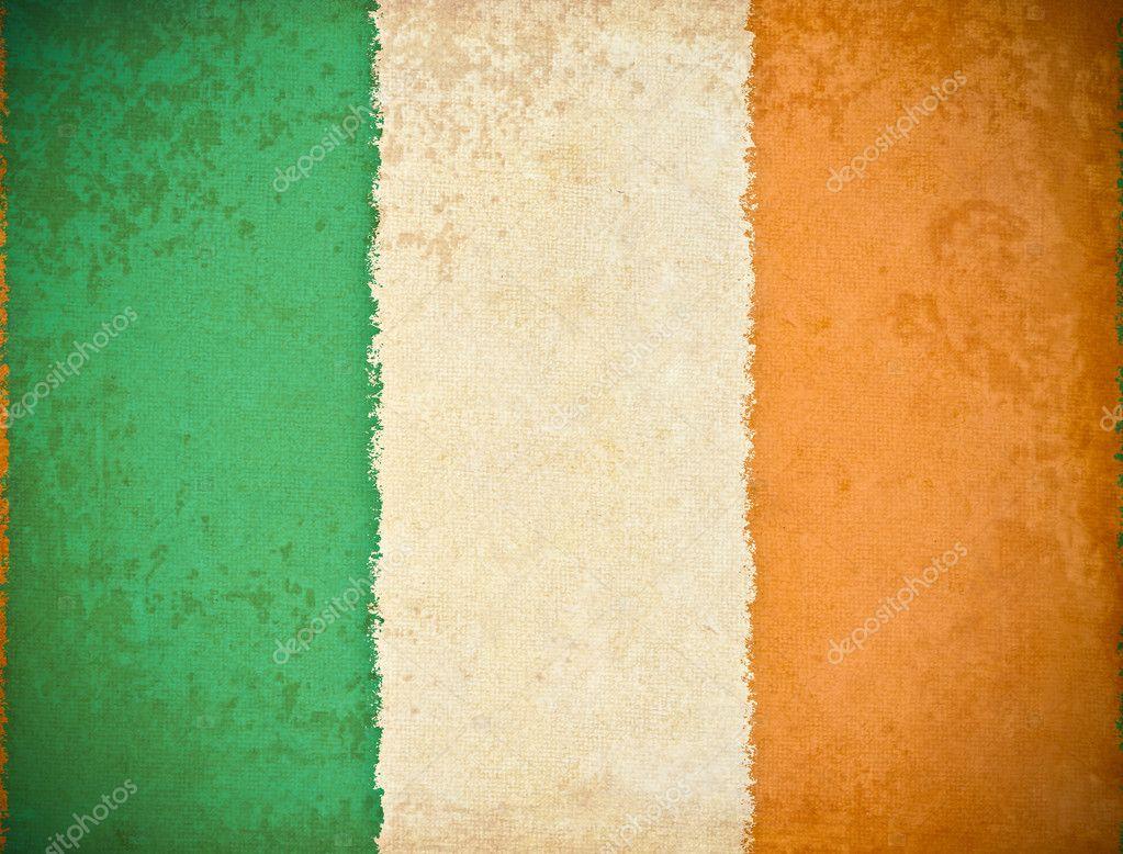 old grunge paper with republic of ireland flag background u2014 stock