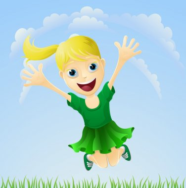 Young happy girl jumping