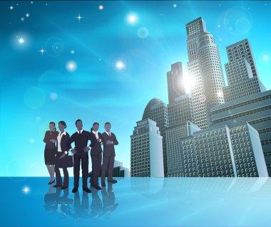 Professional team blue city illustration