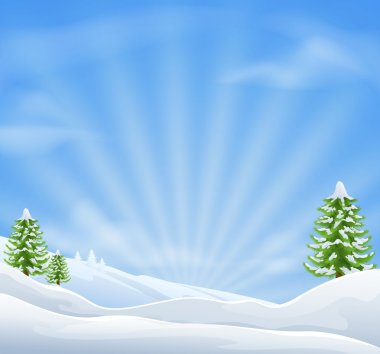An illustration of an idyllic snow covered Christmas landscape with large sky area for copy when used as a holiday background stock vector