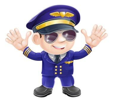Cartoon airplane pilot
