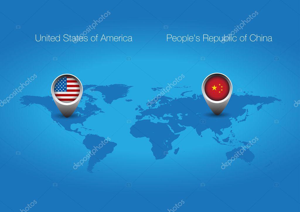 USA China flag button