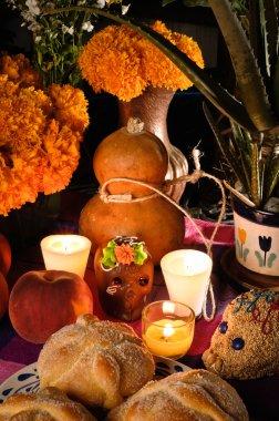 Mexican day of the dead offering altar (Dia de Muertos)