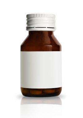 Drug bottle with blank label