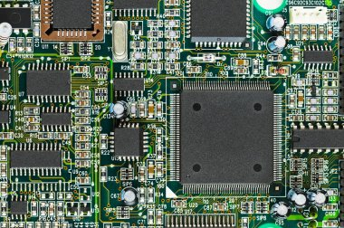 Closeup of electronic circuit board PCB with CPU processor