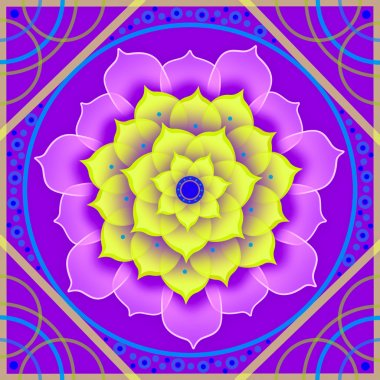 Floral mandala in shades of purple