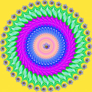 Colorful mandala, geometric drawing sacred circle