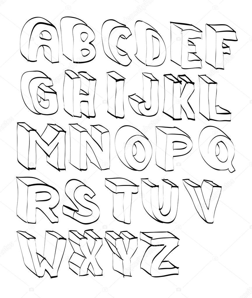 cartoon hand lettered alphabeth stock vector i3alda 9164622. Black Bedroom Furniture Sets. Home Design Ideas