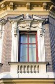 okno zdobené historické budovy svitavy, Česká republika
