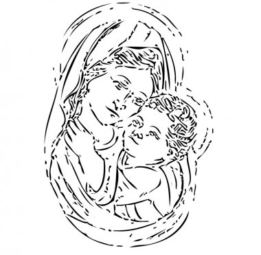 Virgin Mary with Jesus, illustration