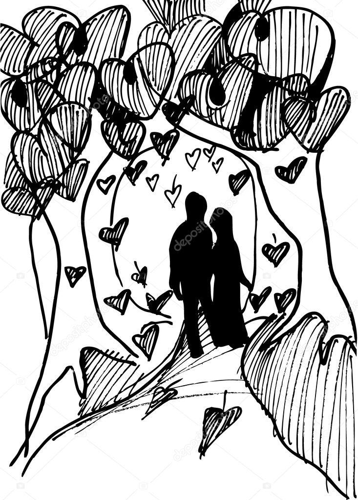 Karte zum Valentinstag, die Färbung buchen Abbildung — Stockvektor ...