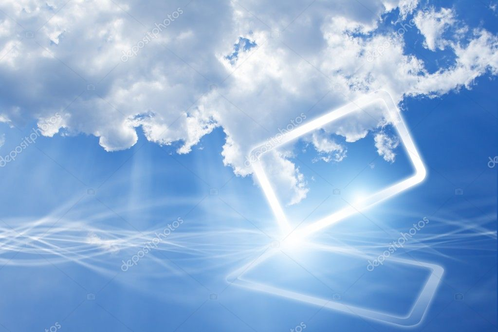 Abstract mobile device in sky with clouds