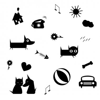 Funny icons (black silhouettes)isolated on white