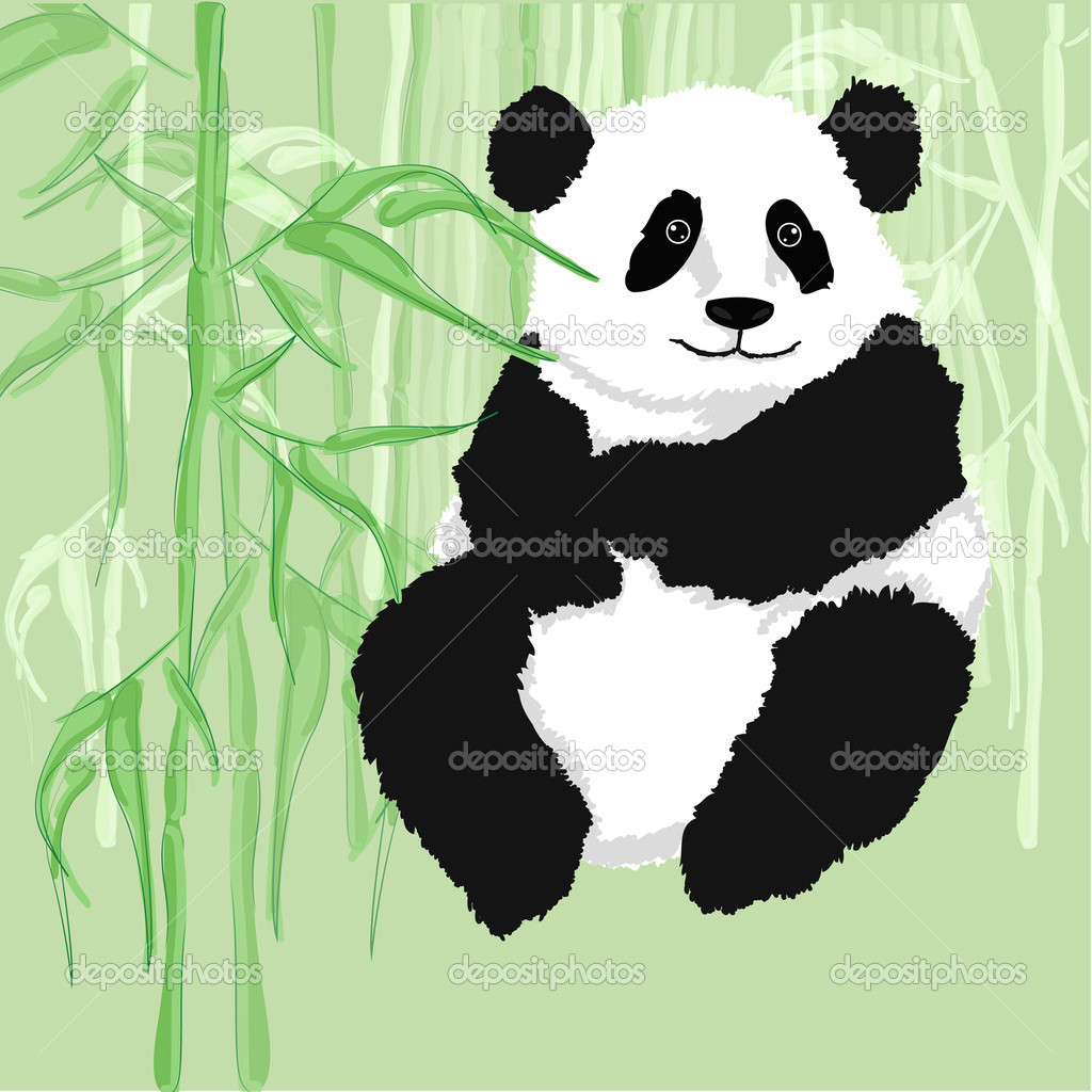 Panda sitting,with bamboo forest as background.
