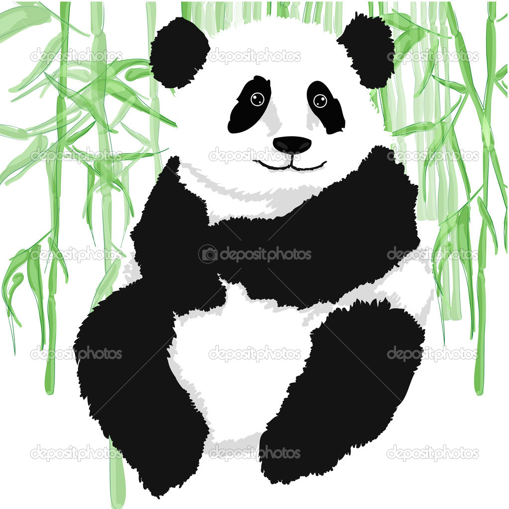 Panda with bamboo plants