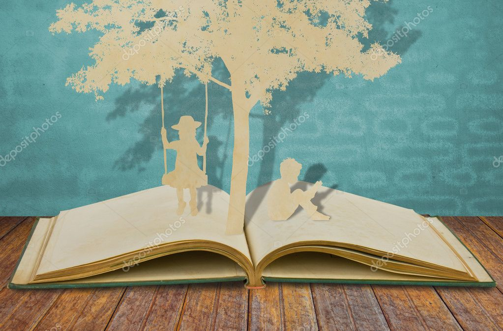 Paper cut of children read a book and children on swing under tr