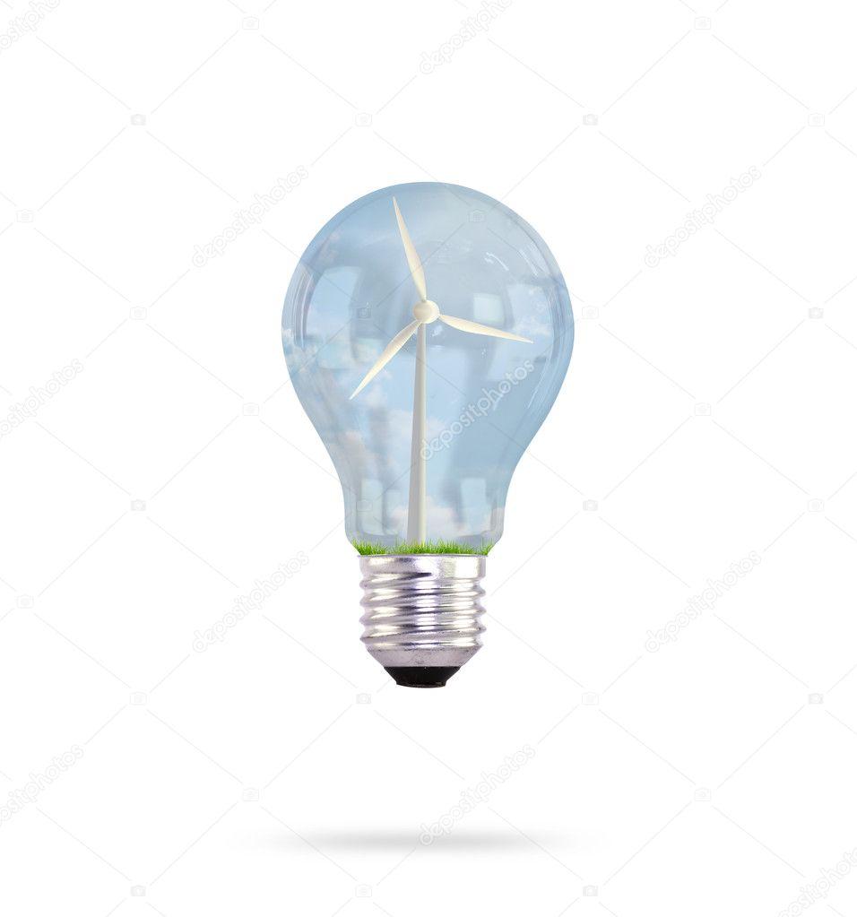 Light bulb with wind turbine inside