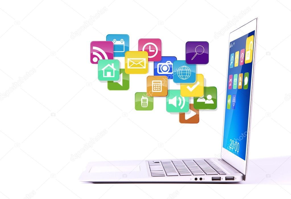Laptop with colorful application icons isolated on white backgro