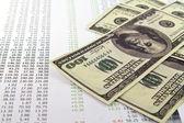 penna, calcolatrice e dollari sui grafici finanziari
