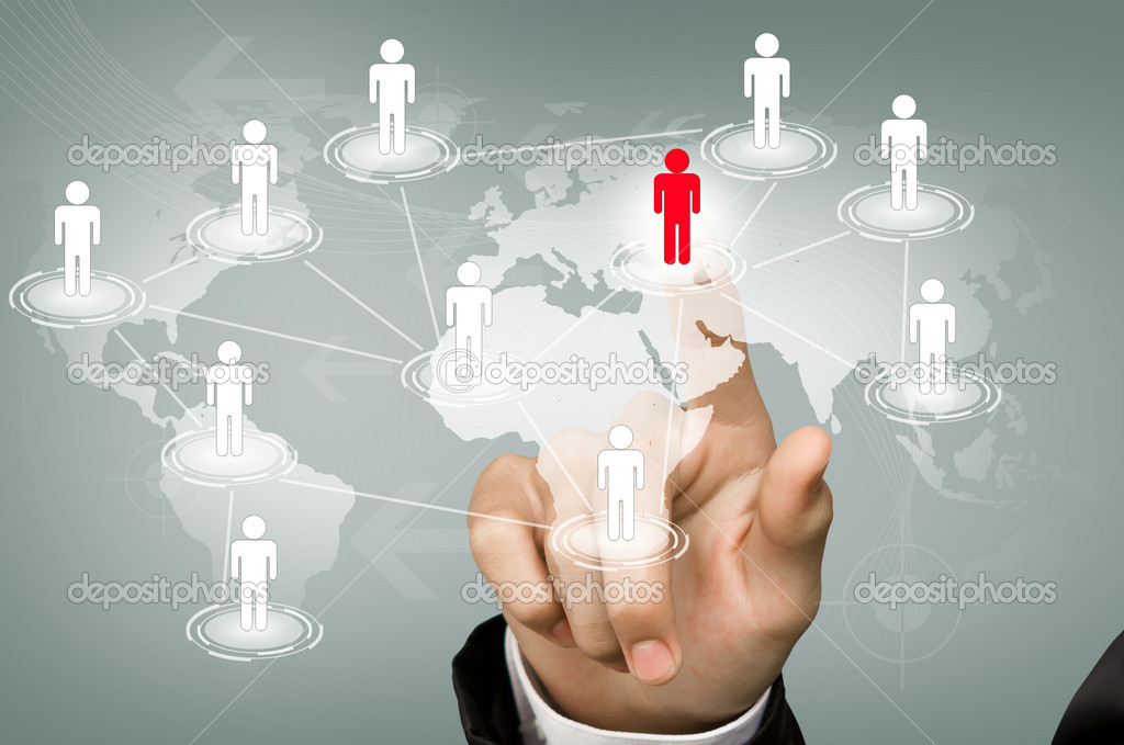 Hand pick red man of Social Network