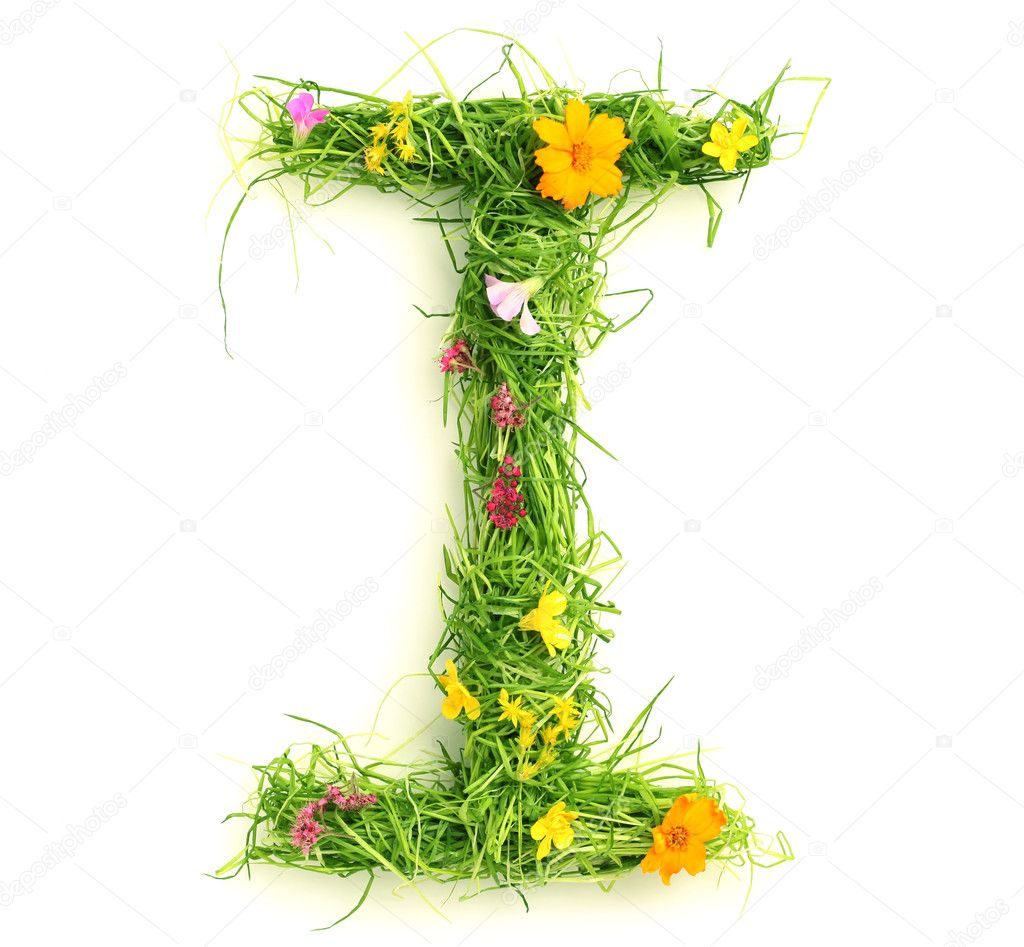 Letters made of flowers and grass