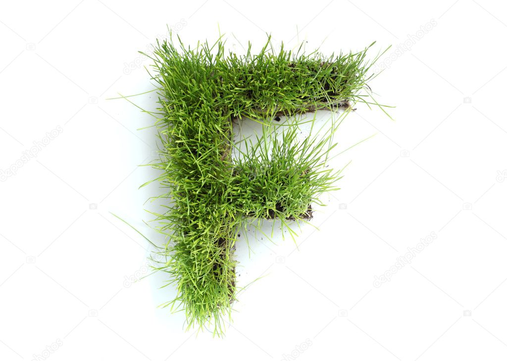 Letters made of grass - F
