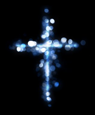 Cross made of lights