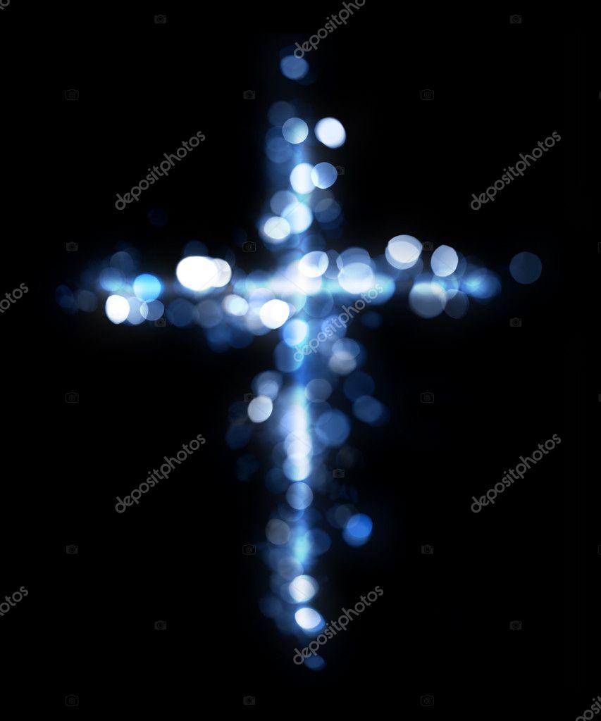 Cross made of lights