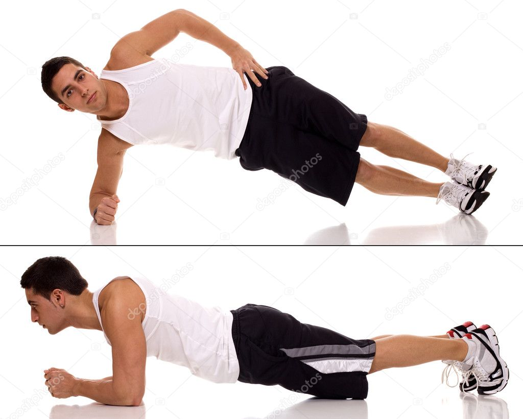 Plank (front hold, hover, abdominal bridge) exercise. Studio shot over whit