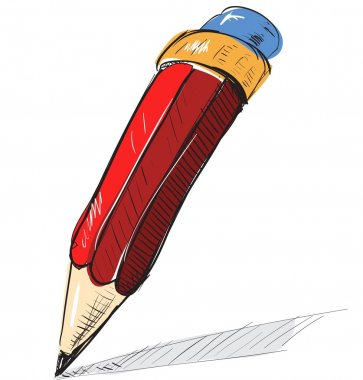 Cartoon red pencil