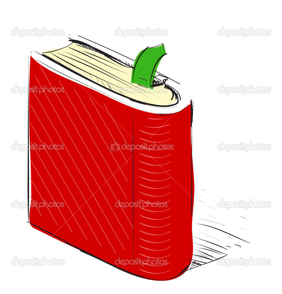 Book about color red - Book Scribbled In Red Color Stock Illustration