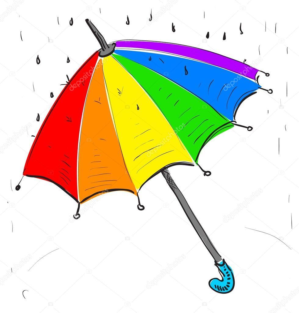 Parapluie arc en ciel sous la pluie image vectorielle - Dessin parasol ...