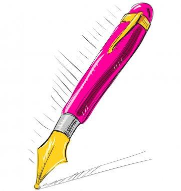 Cartoon ink pen in pink color