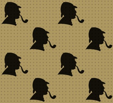 Seamless pattern of detective's profiles