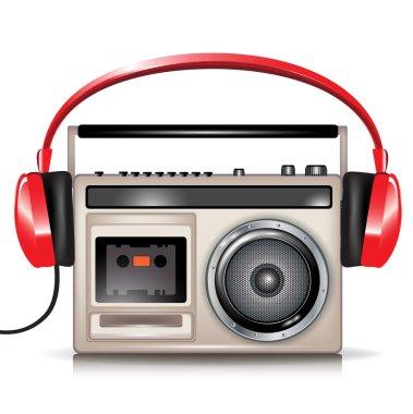 Retro casette music player and headphones