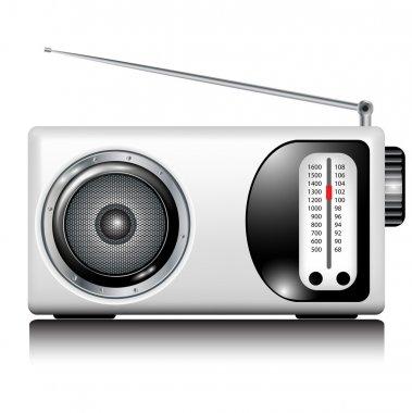 Retro white radio on white stock vector