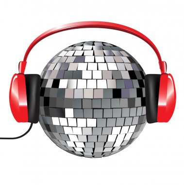 Disco ball with red music headphones on white clip art vector