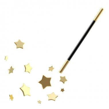 Black magic wand with stars isolated