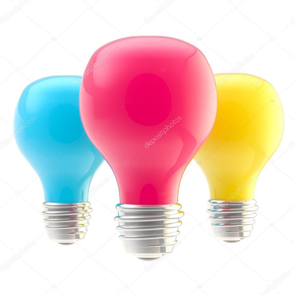 drie cmyk gekleurde bollen stockfoto