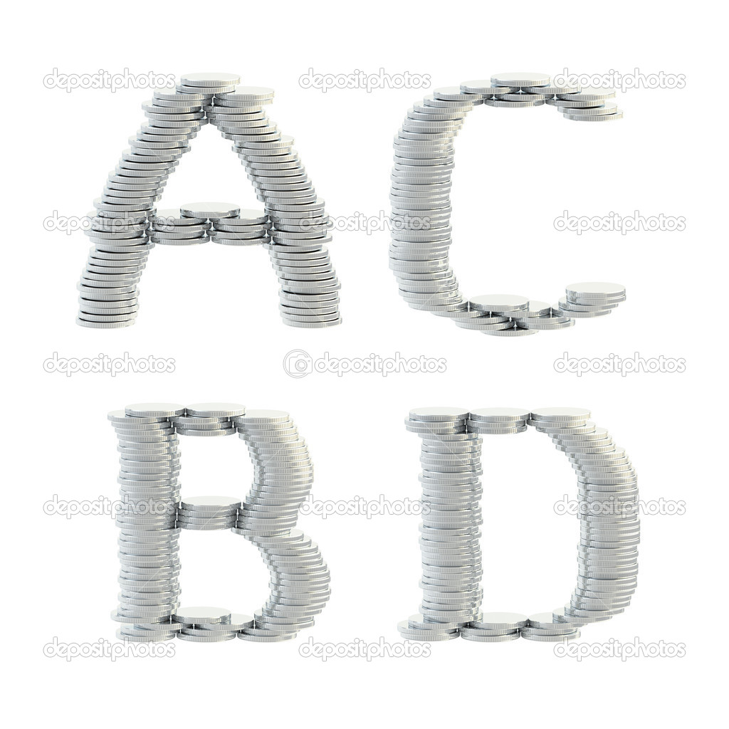Abc Alphabet Symbole Hergestellt Aus Münzen Stockfoto Nbvf89