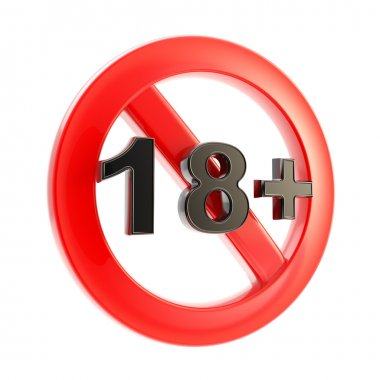 Age limit (18+) round symbol isolated