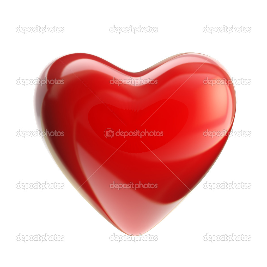 Red glossy heart isolated