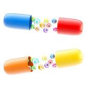 Izolované tablety s vitamíny a prvky uvnitř