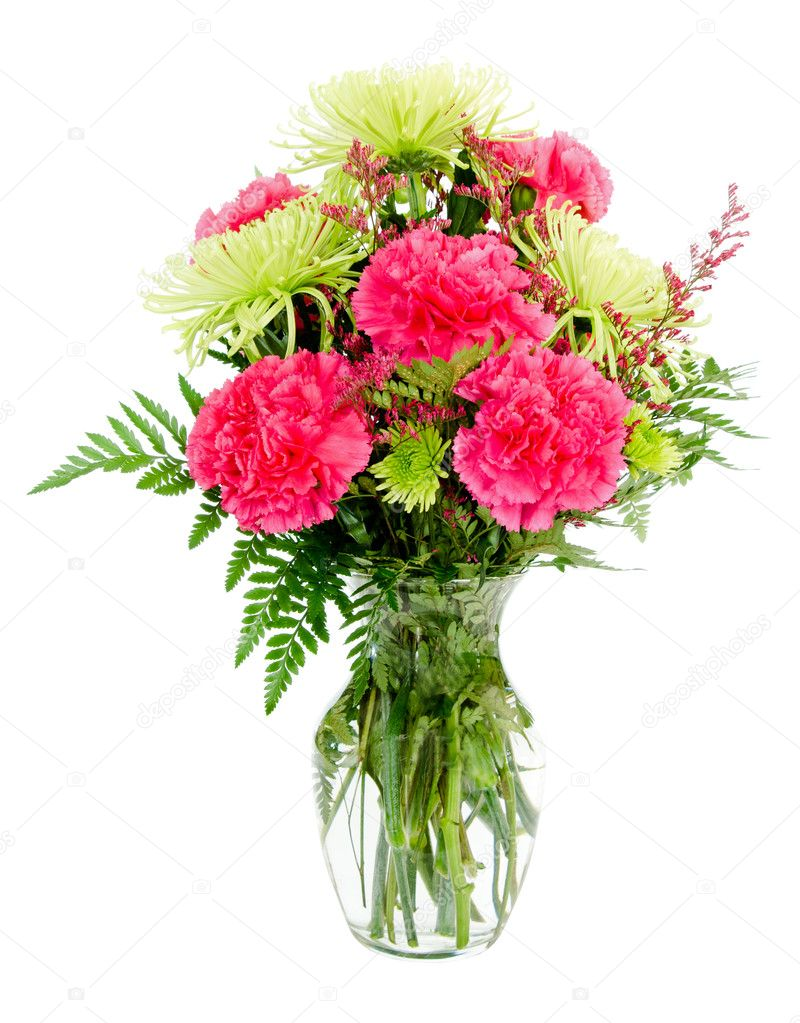 Colorful pink and green flower arrangement with carnations and colorful pink and green flower arrangement with carnations and spider mums isolated on white photo by robhainer mightylinksfo