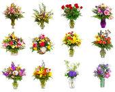 kolekce různé barevné kytice jako kytice do vázy a košíky