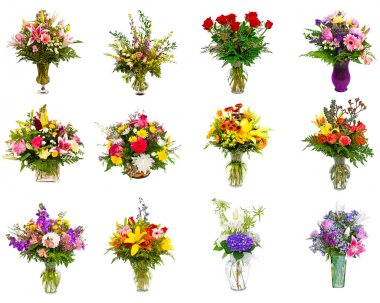 Collection of various colorful flower arrangements as bouquets in vases and baskets stock vector