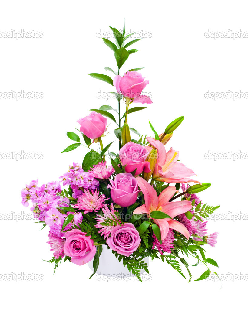 Colorful Purple Flower Arrangement Centerpiece With Roses Lily