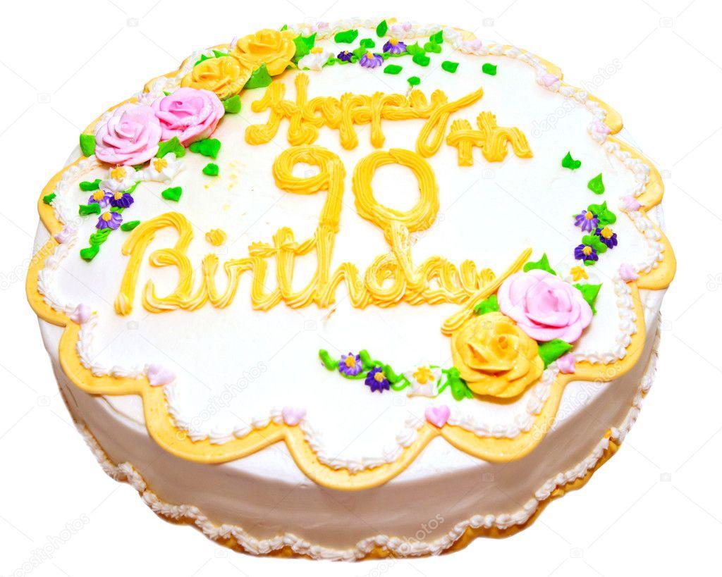 Pastel De Cumpleaños Para La Tercera Edad, Aislado En