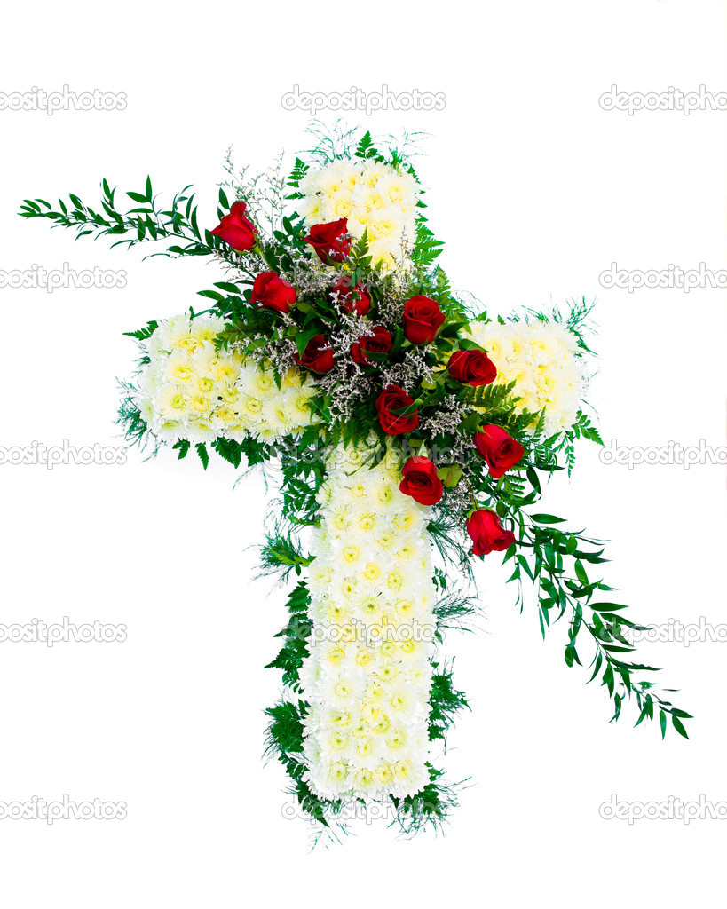 Colorful funeral flower arrangement with cross design stock photo colorful funeral flower arrangement with cross design photo by robhainer izmirmasajfo Image collections