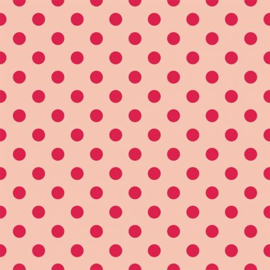 Red dots, baby pink background retro seamless vector pattern